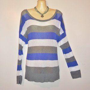 Torrid 2X Sweater Loose Knit Blue Gray LS H473